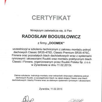 Certyfikat Ruukki