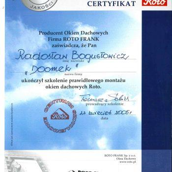 Certyfikat Roto Frank
