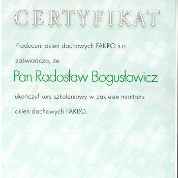 Certyfikat Fakro